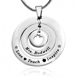 Personalised Circles of Love Necklace Teacher - Sterling Silver