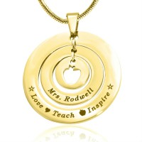Personalised Circles of Love Necklace Teacher - 18ct GOLD Plated