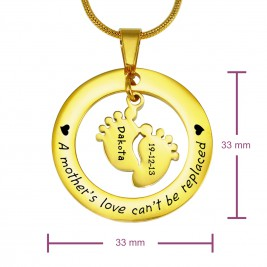 Personalised Cant Be Replaced Necklace - Single Feet 18mm - 18ct Gold Plated