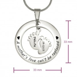 Personalised Cant Be Replaced Necklace - Single Feet 18mm - Sterling Silver