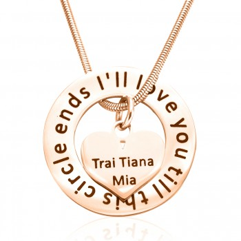 Personalised Circle My Heart Necklace - 18ct Rose Gold Plated