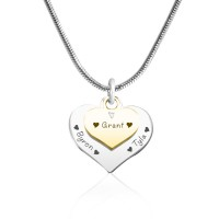 Personalised Double Heart Necklace - Two Tone - Gold n Silver