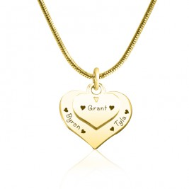 Personalised Double Heart Necklace - 18ct Gold Plated