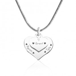 Personalised Double Heart Necklace - Sterling Silver