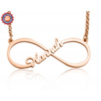 Personalised Single Infinity Name Necklace - 18ct Rose Gold Plated