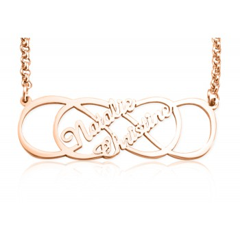 Personalised Infinity X Infinity Name Necklace - 18ct Rose Gold Plated
