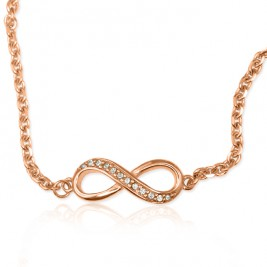 Personalised Neatie  Crystal Infinity Bracelet/Anklet - 18ct Rose Gold Plated