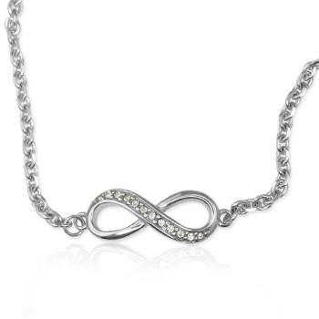 Personalised Neatie  Crystal Infinity Bracelet/Anklet - Sterling Silver