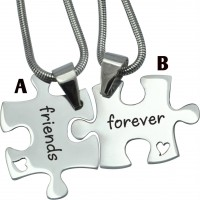 Personalised Forever Friends Puzzle Two Necklaces