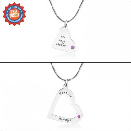 Personalised Mothers Heart Pendant Necklace Set Sterling Silver- Two Necklace