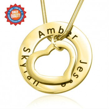 Personalised Heart Washer Necklace - 18ct GOLD Plated