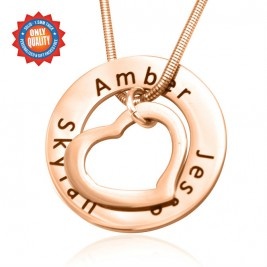 Personalised Heart Washer Necklace - 18ct Rose Gold Plated