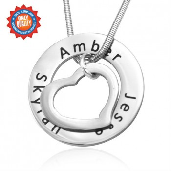 Personalised Heart Washer Necklace