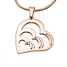 Personalised Hearts of Love Necklace - 18ct Rose Gold Plated