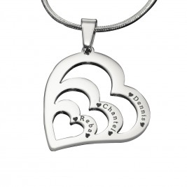 Personalised Hearts of Love Necklace - Sterling Silver