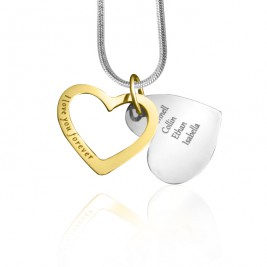 Personalised Love Forever Necklace - Two Tone - Gold  Silver