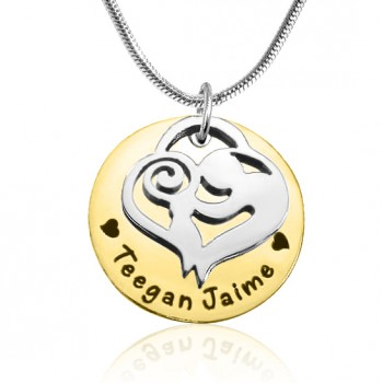 Personalised Mother's Disc Single Necklace - Two Tone - Gold  Silver
