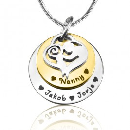Personalised Mother's Disc Double Necklace - Two Tone - Gold  Silver