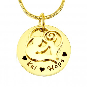 Personalised Mother's Disc Single Necklace - 18ct Gold Plated