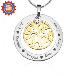 Personalised My Family Tree Necklace - Two Tone - Gold Tree