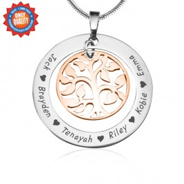 Personalised My Family Tree Necklace - Two Tone - Rose Gold Tree