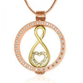 Personalised 18ct Rose Gold Plated Diamonte Necklace with Gold Infinity