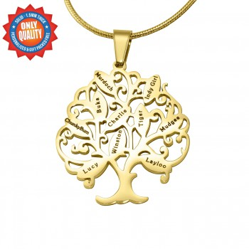 Personalised Tree of My Life Necklace 10 - 18ct Gold Plated
