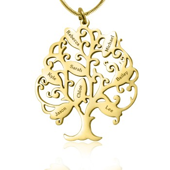 Personalised Tree of My Life Necklace 8 - 18ct Gold Plated