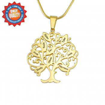 Personalised Tree of My Life Necklace 9 - 18ct Gold Plated