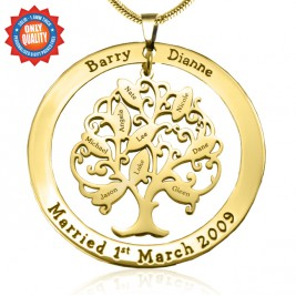 Personalised Tree of My Life Washer 9 - 18ct Gold Plated
