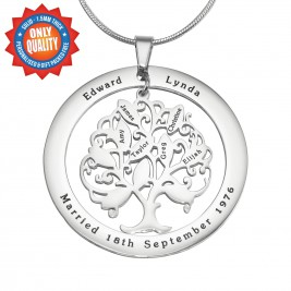 Personalised Tree of My Life Washer Necklace 10 - Sterling Silver