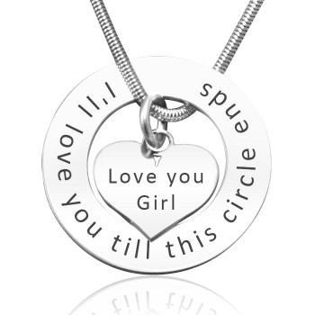 Personalised Circle My Heart Necklace - Sterling Silver