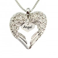 Personalised Angels Heart Necklace with Heart Insert