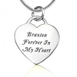 Personalised Forever in My Heart Necklace - Sterling Silver