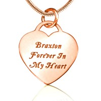 Personalised Forever in My Heart Necklace - 18ct Rose Gold Plated