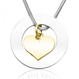 Personalised Circle My Heart Necklace - Two Tone HEART in Gold
