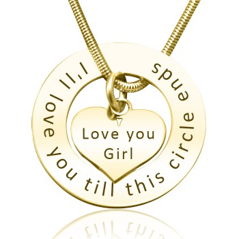 Personalised Circle My Heart Necklace - 18ct Gold Plated