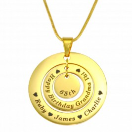 Personalised Circles of Love Necklace - 18ct GOLD Plated