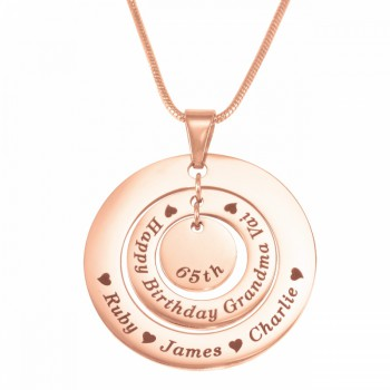 Personalised Circles of Love Necklace - 18ct Rose Gold Plated