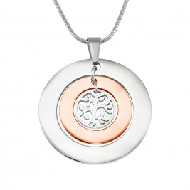 Personalised Circles of Love Necklace Tree - TWO TONE - Rose Gold  Silver