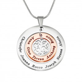 Personalised Circles of Love Necklace - TWO TONE - Rose Gold  Silver