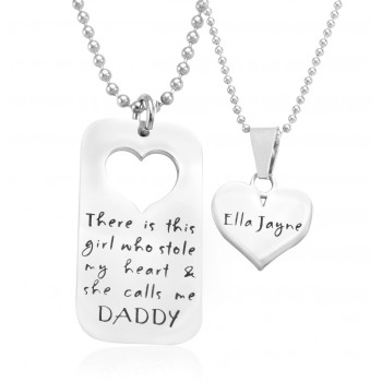 Personalised Dog Tag - Stolen Heart - Two Necklaces - Silver