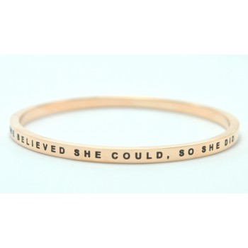 Personalised She Believed She Could Bangle 18ct Gold Plated
