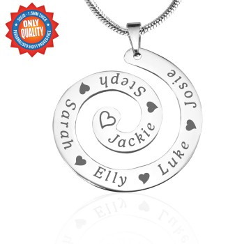 Personalised Swirls of Time Necklace - Sterling Silver