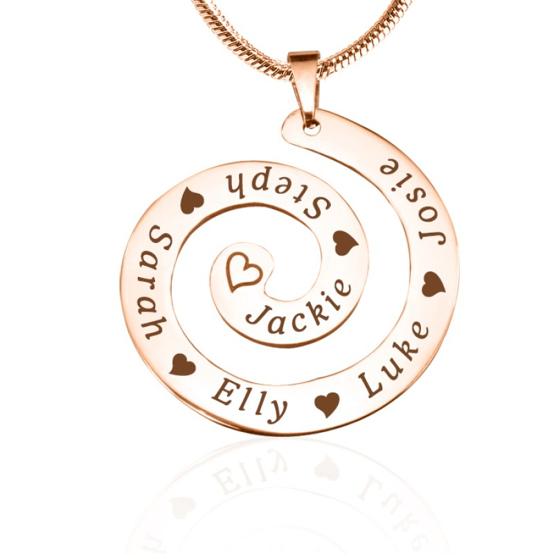 Personalised Swirls Of Time Necklace 18ct Rose Gold Plated