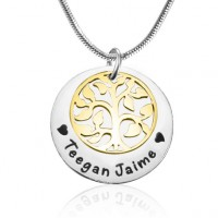 Personalised My Family Tree Single Disc - Two Tone - Gold  Silver