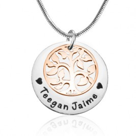 Personalised My Family Tree Single Disc - Two Tone - Rose Gold  Silver