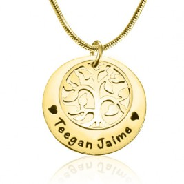 Personalised My Family Tree Single Disc - 18ct Gold Plated