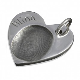 925 Sterling Silver FingerPrint Heart Pendant