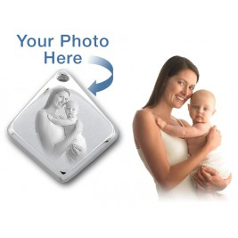 925 Sterling Silver 3D Diamond Photo / Picture Engraved Pendant - Custom